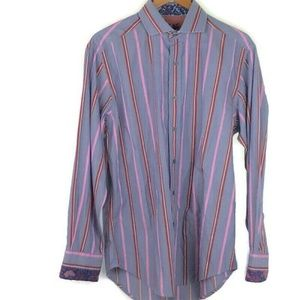 Robert Graham Striped Long Sleeve Flip Cuff Shirt